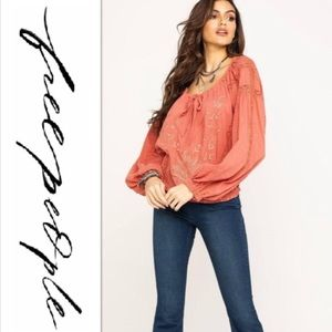 NWT Free People Athena Embroidered Blouse